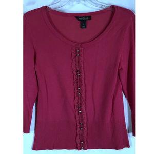 WHBM dark PINK Lightweight Rib Hem Sweater SMALL